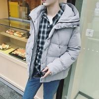 棉衣男士外套冬季外套男式韩版连帽纯色青年加厚棉衣潮流