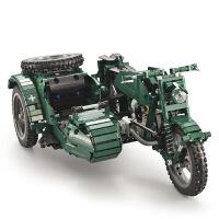 电动遥控拼装摩托车积木二战军事坦克模型玩具