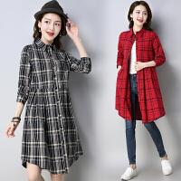棉麻连衣裙2018春夏新款民族风女装格子中款长袖衬衫袖中国风裙子