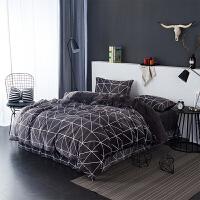 当当优品暖绒四件套 抗静电加厚细密保暖床品 双人1.5米床 棕咖