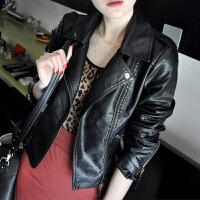春装新款韩版小皮衣女士短款pu机车夹克大码女装修身上衣西装外套