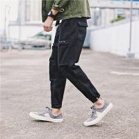 2017新款日系复古男士小脚牛仔裤青少年小清新哈伦裤男装潮长裤子