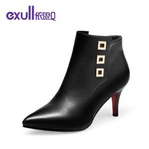 依思q冬季新款时尚优雅金属装饰靴子尖头细高跟短靴