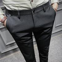 新款秋季男士韩版修身小脚休闲裤男裤子个性英伦风发型师潮流