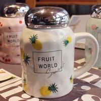 韩国创意水果陶瓷杯子大容量马克杯茶杯情侣杯学生可爱牛奶杯带盖