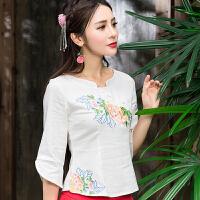 秋季新款 中国风中袖修身女口棉麻T恤立领盘扣民族风绣花上衣