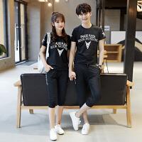 2018夏装新款韩版情侣套装短袖T恤女夏季气质短袖套装学生班服潮
