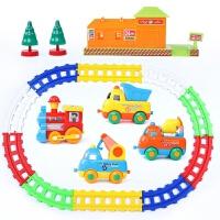 儿童拼装电动轨道车玩具套装火车小汽车宝宝1-3-5岁男孩卡通 卡通工程车轨道