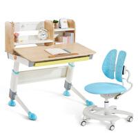 2平米 精灵儿童学习桌椅套装 实木桦木桌 儿童书桌90cm 学生课桌椅组合 可升降多功能写字桌
