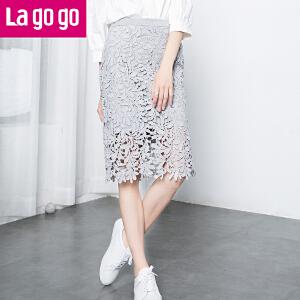 Lagogo拉谷谷2016秋季新款钩花蕾丝显瘦半身裙女高腰包臀中裙女