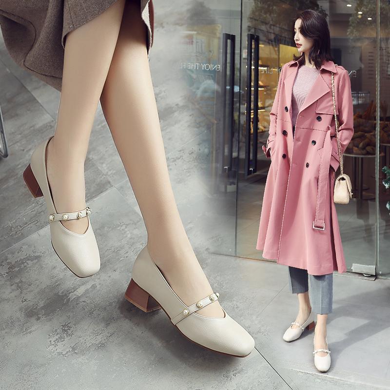 ZHR2018春季新款浅口单鞋chic小皮鞋复古玛丽珍鞋粗跟休闲鞋女鞋K60