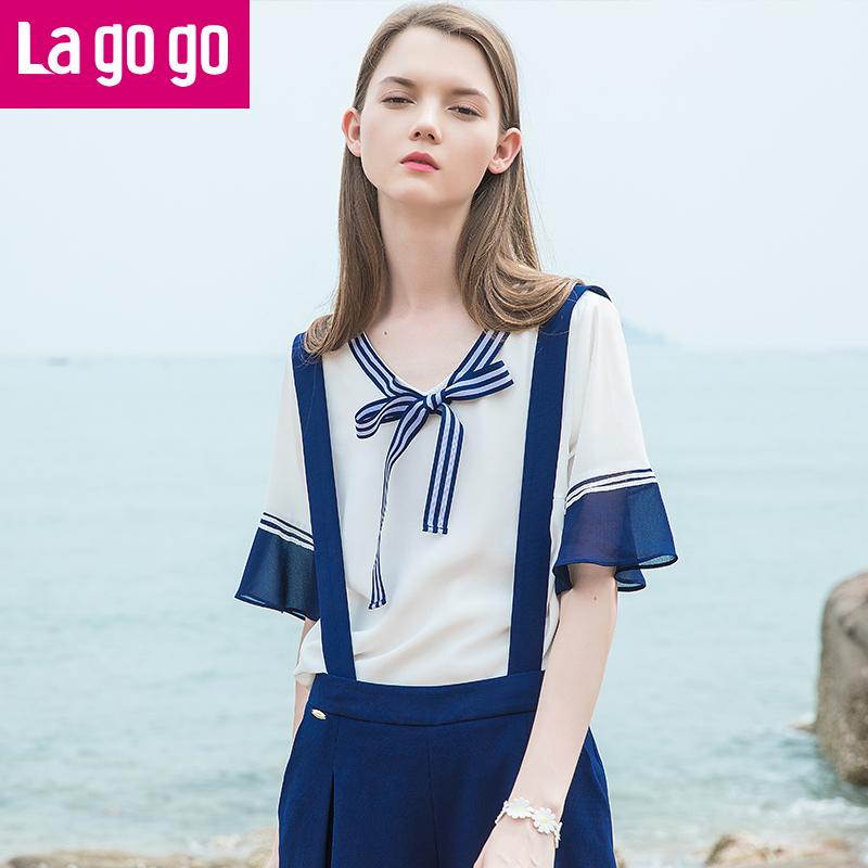 Lagogo2017年夏季新款白色拼接雪纺V领系带荷叶袖短袖上衣女宽松
