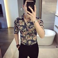 新品18春夏新款男式韩版修身印花七分中袖衬衫潮流青年小伙免烫衬
