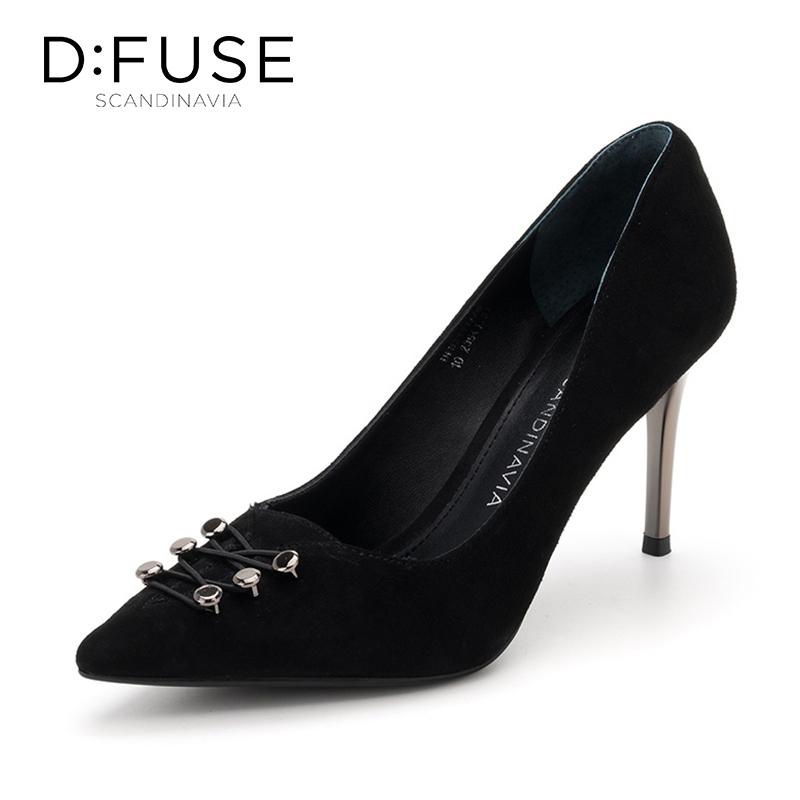 迪芙斯(D:FUSE)女靴 专柜绒面羊皮革尖头高跟单鞋 DF83111728