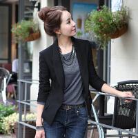 2018新款小西装女韩版修身短款小西服外套女士工作服黑色春季女装 黑色