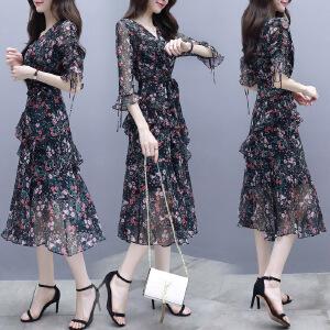 安妮纯雪纺连衣裙2020新款夏款女很仙的小个子高端气质显瘦流行碎花裙子