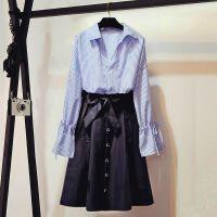 大码女装新款春夏装洋气套装胖mm衬衫+连衣裙显瘦半身裙两件套潮