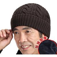 保暖棉帽男针织帽 男士秋冬天加厚中老年人帽老头帽 套头帽毛线帽子