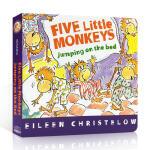 英文原版绘本 Five Little Monkeys Jumping on the Bed 五只小猴子床上蹦蹦跳 廖彩