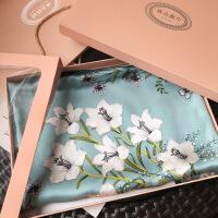 花卉油画主题围巾女秋冬季灰绿色加厚缎面方巾丝巾披肩 礼盒装