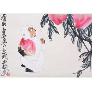 C126齐白石款 献寿图(附出版)