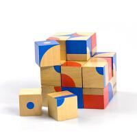 儿童益智木制立体红蓝积木拼图六面画比七巧板早教