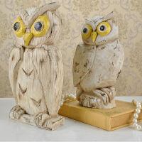 美式复古家居装饰品创意摆件猫头鹰动物客厅软装树脂工艺品