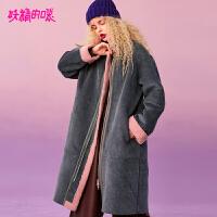 妖精的口袋Y时尚翻领大衣外套女冬装2018新款潮中长款过膝仿皮草