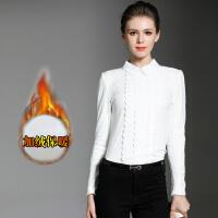 女式长袖t恤衫秋冬娃娃领蕾丝打底衫 韩版潮修身加绒上衣白色衬衫