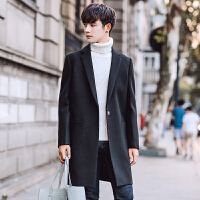 男士中长款风衣男秋冬季韩版潮流学生时尚呢子大衣男帅气风衣男懂