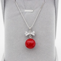S925银项链女锁骨链贝珠红色珍珠项链简约日韩版新娘首饰女友礼物