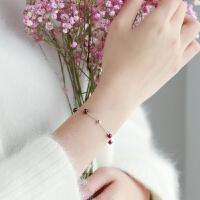 石榴石手链女韩版银简约本命年女转运珠 通体925银 圆珠手链