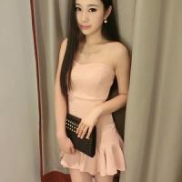 夏季新款性感夜店夜场女装鱼尾抹胸裹胸显瘦豆粉色黑色短裙连衣裙