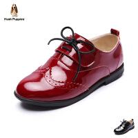 暇步士童鞋2017年新款女童皮鞋中大童系带演出真皮鞋 DP9089