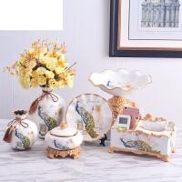 结婚礼物插花花器奢华装饰品创意欧式陶瓷花瓶三件套家居客厅摆件 浅米色 孔雀六件套配花