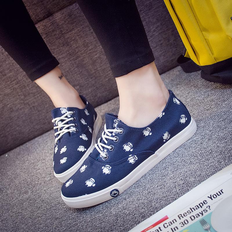2018春款小白鞋女卡通款帆布鞋平底板鞋韩版学生布鞋卡通球鞋