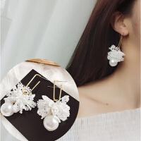 气质蕾丝流苏长款耳环韩版夸张织带水果耳钉耳坠耳饰品