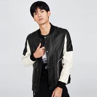 gxg.jeans男装秋季绵羊皮革真皮黑色休闲皮衣夹克外套潮63612220