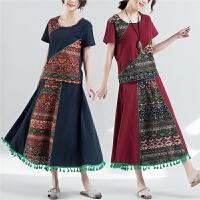 夏季波西米亚民族风棉麻女装印花短袖上衣半身裙两件套装 女