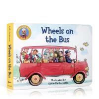 英文原版 wheels on the bus 公车上轮子Raffi经典儿歌童谣英文原版进口童书幼儿启蒙纸板书正版绘本启