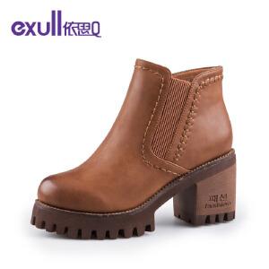依思Q厚底粗跟高跟短靴防水台潮靴