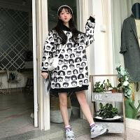 韩版2018新款冬季学生上衣宽松中长款卡通印花套头加厚毛呢卫衣女