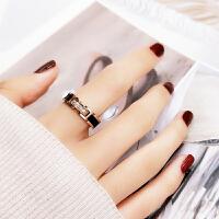欧美风网红个性黑色微钻戒指女款食指环戒子潮人钛钢装饰品