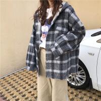 秋冬韩版宽松卫衣女连帽长袖格子呢子衬衣加厚衬衫上衣外套学生bf