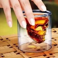 耐热玻璃水晶骷髅红酒杯夜店烈酒杯海盗杯子啤酒杯扎啤杯防烫双层玻璃杯酒杯伏特加杯子