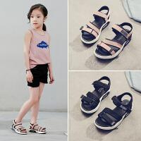 夏季新款中大童女童凉鞋露趾魔术贴童软底宝宝沙滩鞋