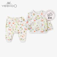 【直降】英氏婴儿内衣套装夏季 新生儿休闲和尚服长裤居家内衣套装 182A0340