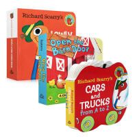 3册低幼手掌纸板翻翻书Richard Scarry's Cars and Trucks from A to Z/Ope