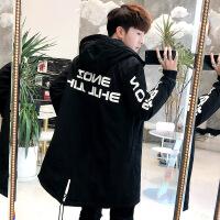 男士冬季中长款外套男装冬衣2018新款棉衣韩版潮流冬装棉袄子 黑色