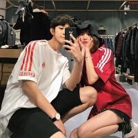 2018夏装新款情侣装韩版短袖T恤女ins超火的上衣学生宽松潮